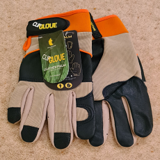Clip Glove 'Leather Palm' Men's Gardening Gloves - Size Large